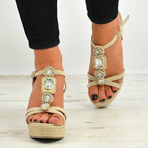 Taille Espadrilles D'été Haute Plateforme 8 Sandales Beige Plateforme Cucu Chaussures 3 Stud Dames Mode Femmes qxwZ80PS
