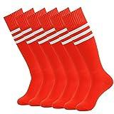 Athletic Tube Socks, J'colour Unisex Wicking Moisture Knee High Solid Long Soccer Softball Sport Socks 6 Pairs Red&White Stripe