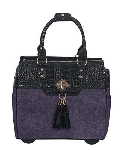 JKM and Company THE CONTESSA Purple & Black Alligator Faux Leather Computer iPad, Laptop Tablet Rolling Tote Bag Briefcase Carryall Bag by JKM and Company