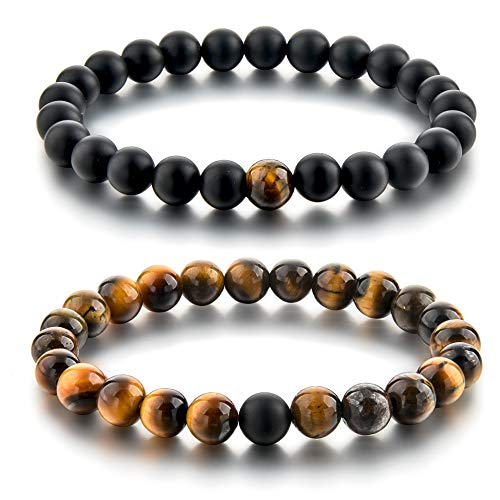 Relationship Bracelets Long Distance Bracelets Yin Yang Tiger Eye Stone 8mm Elastic Beads Bracelets for Couples Friends Him Her at Christmas Birthday ()