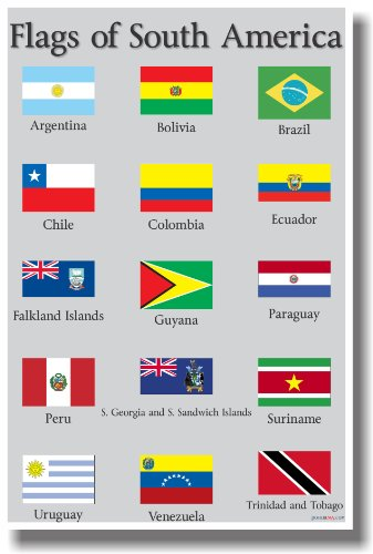 Flags of South America - New World Travel Poster