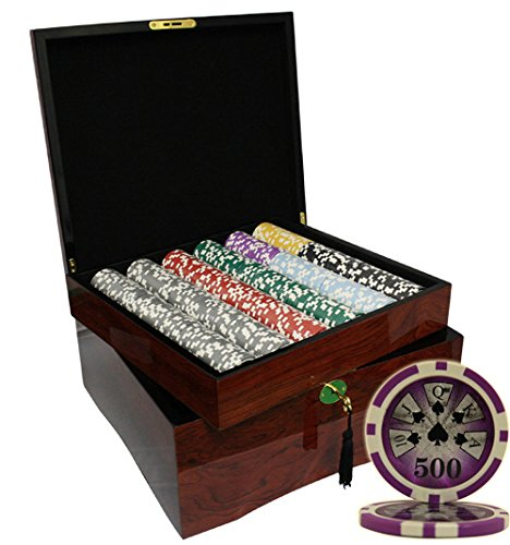 MRC 750pcs High Roller Casino Laser Poker Chips Set with High Gloss Wood Case by Mrc Poker