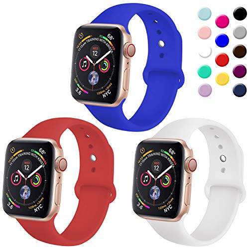 - TIMTU Sport Bands Compatible with Apple Watch 42mm 44mm, Womens Bands Compatible with iWatch 42mm/44mm, S/M Royal Blue/Red/White