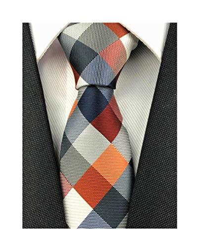 (Secdtie Men's Classic Checks Dark Blue Grey Jacquard Woven Silk Tie Necktie (One Size, Orange Maroon)