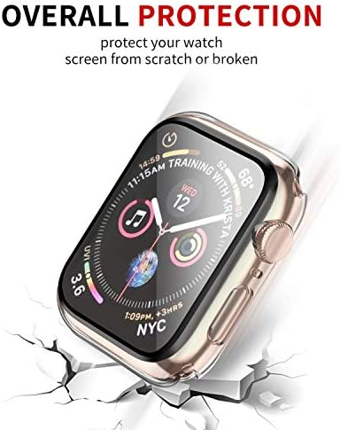 Smiling Case Compatible with Apple Watch Series 6/SE/Series 5/Series 4 40mm with Built in Tempered Glass Screen Protector- All Around Hard PC Case Overall Protective Cover (Clear)