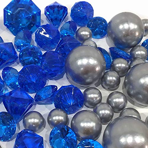 Blue Jumbo Gems - 80 Royal Blue Gems & Silver Pearls - Jumbo & Assorted Sizes Vase Fillers for Centerpiece Decorations. To Float the Pearls, Order the Transparent Water Gels