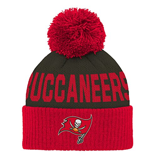 NFL Tampa Bay Buccaneers Jacquard Cuffed Knit Hat with Pom Red, Infant One Size ()