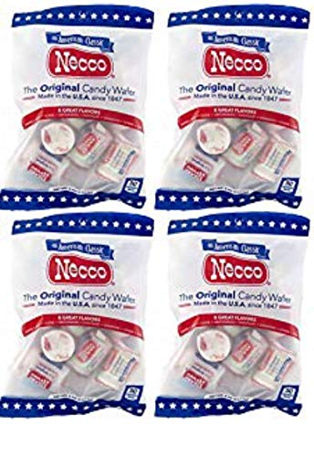Set of 4-4oz Bags of Original Candy Wafers by Necco - Retro & Nostalgic Hard Candies - Includes Assorted Flavors Such as Orange, Lemon, Lime, Clove, Chocolate, Cinnamon, Licorice and ()