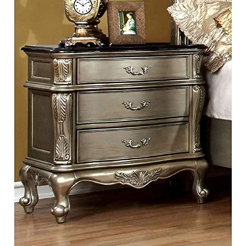 3 Drawer Marble Top Nightstand - Furniture of America Therese Luxury Silver Marble Top 3-drawer Nightstand