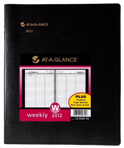 AT-A-GLANCE Plus Weekly Appointment Book, 8 x 11 Inches, Black, 2012 (70-950P-05)