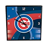 MLB Chicago Cubs Official Carbon Fiber Square Clock, Multicolor, One Size