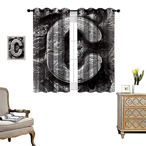 Anyangeight Letter C Room Darkening Wide Curtains Fused Elements Aluminum Style Minuscule C Words First Name Theme Background Artwork Customized Curtains W55 x L63 Silver