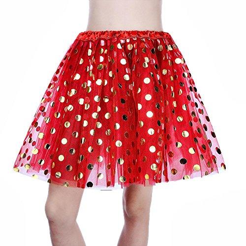 FINIFLY Sexy Women Gold Sequin Dot Pettiskirt Mesh Glitte 3 Layers Tutu Skirt/Red