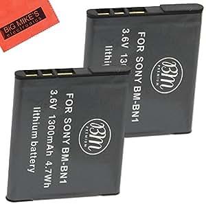 BM Premium 2-Pack of NP-BN1 Batteries for Sony Cyber-shot DSC-QX10, DSC-QX30, DSC-QX100, DSC-TF1, DSC-TX10, DSC-TX20, DSC-TX30, DSC-W530, DSC-W570, DSC-W650, DSC-W690, DSC-W710, DSC-W730, DSC-W800, DSC-W830, DSC-WX70, DSC-WX80, DSCWX150 Digital Camera