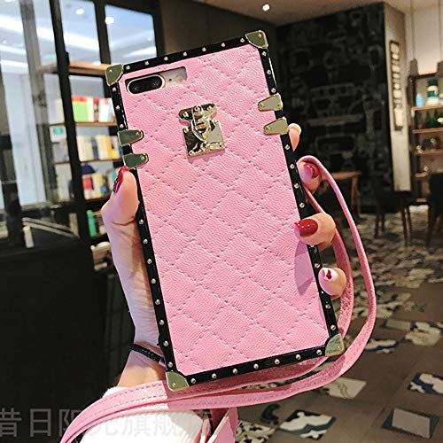 (Compatible for iPhone 7 Plus /8 Plus Case,BabeMall Elegant Diamond Luxury Metal Corner Square PU Leather Classic TPU Bumper Case & Lanyard (Small Cube/Pink for iPhone 7 Plus/iPhone 8 Plus))