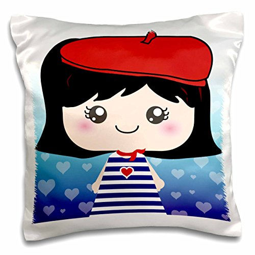 3dRose Cute Kawaii Cartoon French Girl Doll in Traditional France Paris Blue Stripe Dress Red Beret Hat Pillow Case 16 x 16