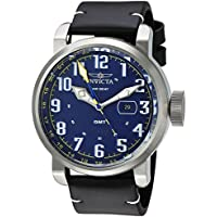 [Sponsored]Invicta Men's 'Aviator' Quartz Stainless Steel and Leather Casual Watch, Color:Black...