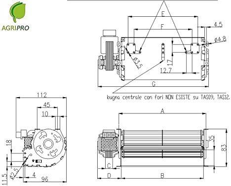 Ventilador Tangencial DN Ventilador 60 cm 9 Motor Universal izquierda
