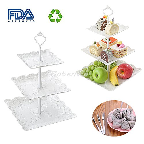 3-Tier Fruit Plate Cake Stand Porcelain Party Cupcake for Wedding &Home&Party Serving Platter Tea Party, or Birthday Party and Fruit Forks as Gift