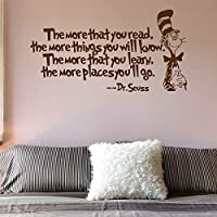 """Amaonm Removable Vinyl Black Dr Seuss The More That You Read, The More Things You Will Know Inspirational Education Wall Decals Stickers Decor for Kids Bedroom Living Room Classroom Offices (20""""x38"""")"""