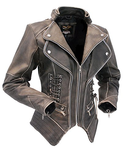 - Jamin' Leather Women's Brown Vintage Steampunk Leather Jacket CCW (S)