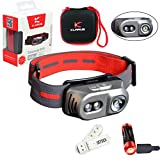 Klarus Titanium H1A 3 LED 550 Lumens Dual Switches 90 Degree Adjustable Angle Headlamp,with 14500 Battery, Headband, Carrying Case and SKYBEN USB Light (Black Color)