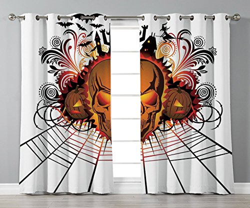 Satin Grommet Window Curtains,Halloween Decorations,Angry Skull Face on Bonfire Spirits of Other World Concept Bats Spider Web,Multi,2 Panel Set Window Drapes,for Living Room Bedroom Kitchen Cafe