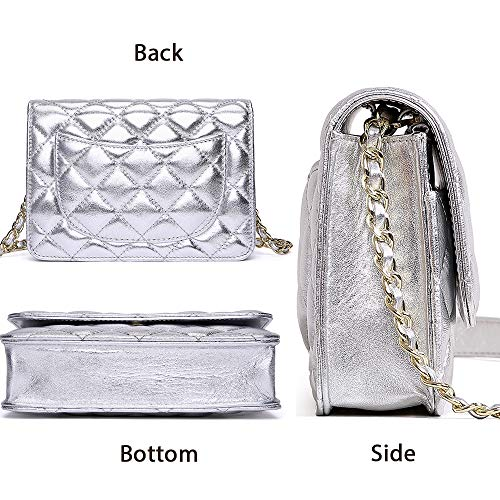 Neverout Shoulder Card with Classic Leather Crossbody Handbags 6 Purse Lamb for Silver Women Holder Quilted Slots NP2133 Bag rOrEpq