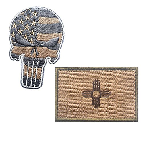 Embroidery USA NEW MEXICO State Flag and Punisher Tactical p