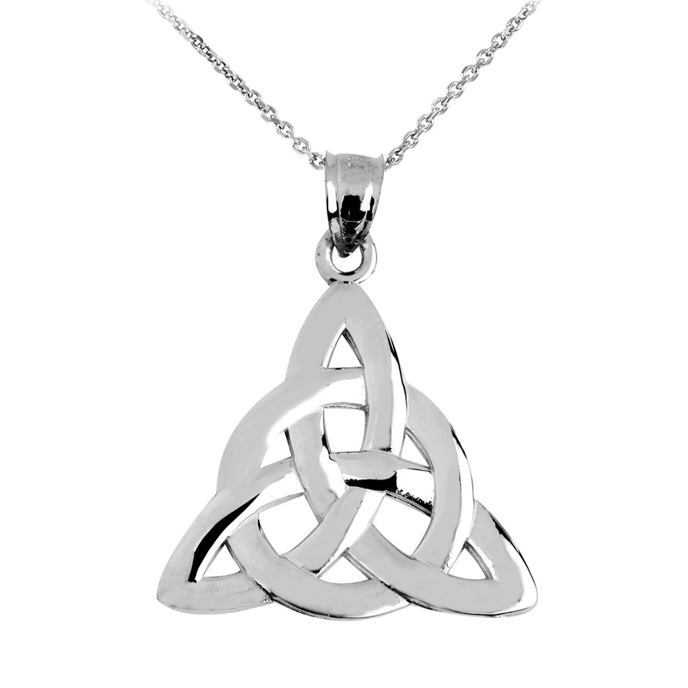 925 Sterling Silver Traditional Celtic Trinity Knot Pendant Necklace