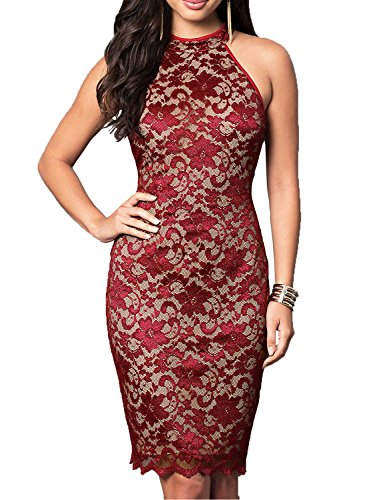 WOOSUNZE Women's Elegant Sleeveless Floral Lace Vintage Midi Cocktail Party Dress (Small, Burgundy)