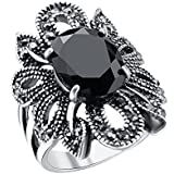 Fashion Jewelry 925 Silver Black Gemstone Women Bridal Ring Gift Size 8-10 New#by pimchanok shop (9.5)