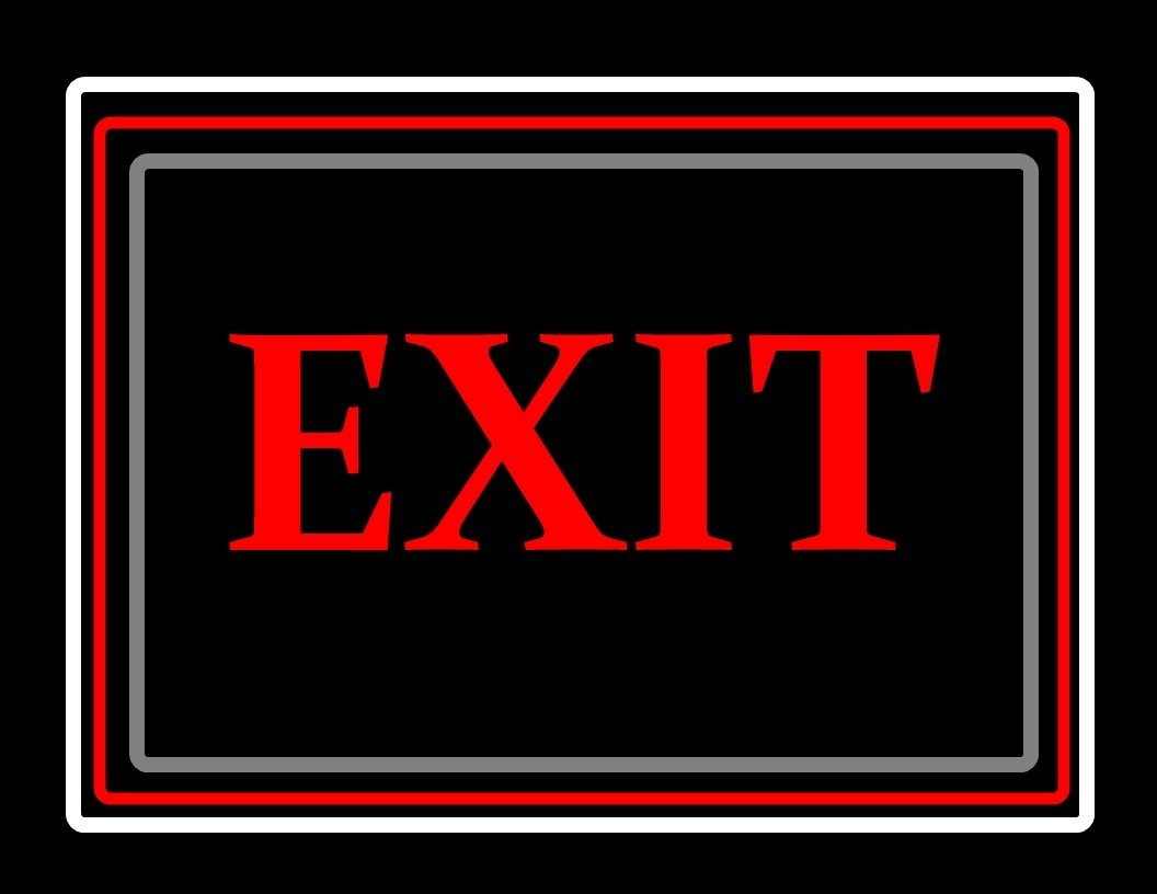 Porta-Trace Decorative LED Lit Sign with Exit Logo, 19-Inch, Red