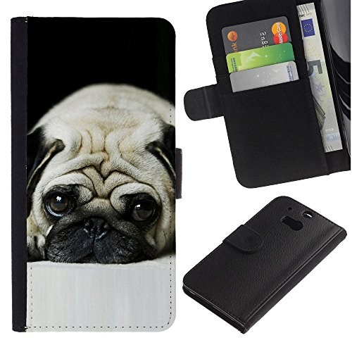 EuroCase - HTC One M8 - pug sad dog eyes pet cute puppy - Cuero PU Delgado caso cubierta Shell Armor Funda Case Cover