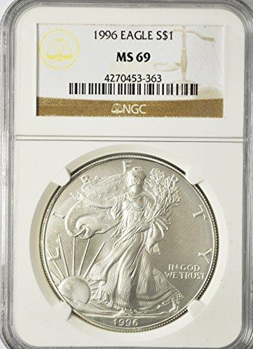 1996 P Silver Eagle Fine Silver American Eagle $1 MS-69 NGC MS