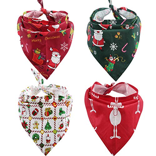 Lamphyface 4Pcs Dog Bandana Christmas Pet Triangle Head Scarf Accessories Bibs for Dog Cat