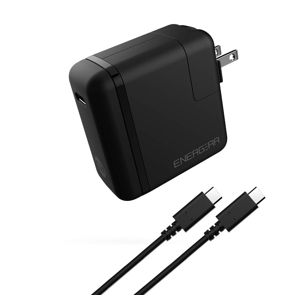 ENERGEAR 85W USB C Charger, Foldable Plug, USB-IF/UL Certified, PD2.0 USB-C Wall Charger, C-C Cable Included, Compatible with MacBook Pro/Air 2018, Lenovo Chromebook, Acer Swift 7 and More -Black by EG ENERGEAR