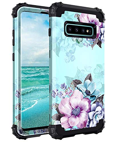Casetego Compatible Galaxy S10 Plus Case,Floral Three Layer Heavy Duty Hybrid Sturdy Armor Shockproof Full Body Protective Cover Case for Samsung Galaxy S10 Plus,Blue Flower