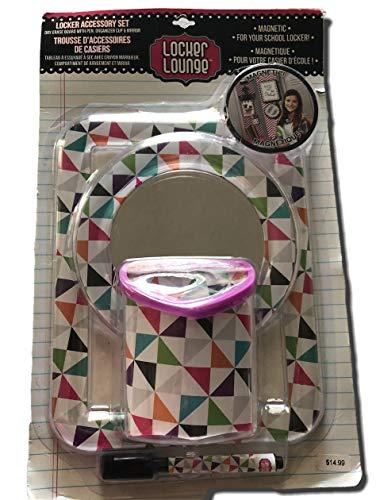 (Locker Accessory Set, Magnetic Mirror, Pencil Holder & Dry Erase Board (Color Triangle Pattern))