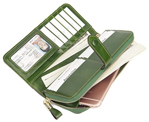 517aNidjShL - Anvesino Women's RFID Blocking Real Leather Wallet Ladies Zipper Wristlet Clutch Green