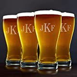 Classic Monogram Pilsner Beer Glasses, Set of 4 (Customizable Product) For Sale