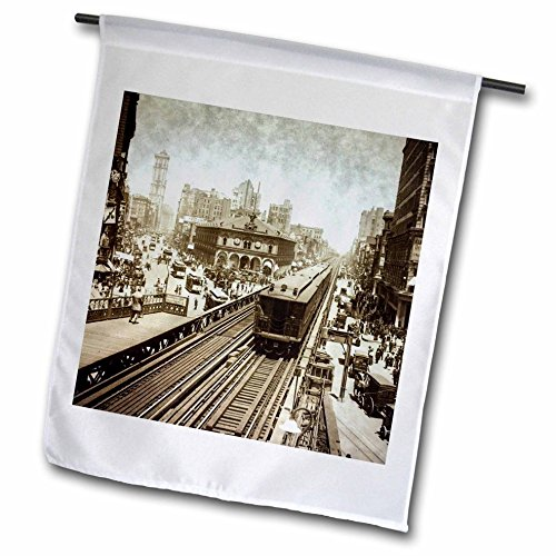 3dRose Scenes from the Past Magic Lantern Slides - New York City Herald Square N Ave Upper Broadway to Times Square 1900 - 12 x 18 inch Garden Flag - Ave Broadway Nyc