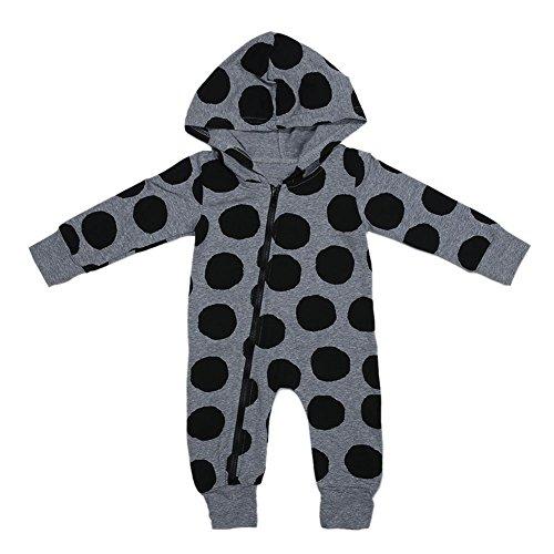 Diamondo Baby Romper Jumpsuit Playsuit, Unisex Newborn Baby Boys Girls Polka Dots Long Sleeve Zipper Hooded Romper (18-24M)