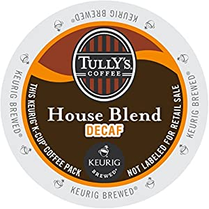 Tully's Coffee Decaffeinated House Blend, K-Cup for Keurig Brewers