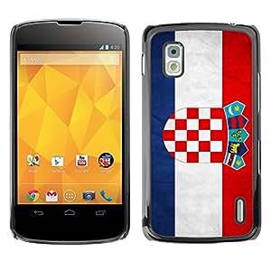 Caucho caso de Shell duro de la cubierta de accesorios de protección BY RAYDREAMMM - LG Google Nexus 4 E960 - Croatia Grunge Flag