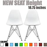 Cheap 2xhome Set of 2 White Desk Chair Mid Century Modern Plastic Molded Shell Assembled Chairs Chrome Wire Base Metal Eiffel Side Armless No Arms DSW for Work Office Dining Living Kitchen Bedroom