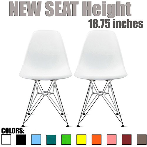 2xhome Set of 2 White Desk Chair Mid Century Modern Plastic Molded Shell Assembled Chairs Chrome Wire Base Metal Eiffel Side Armless No Arms DSW for Work Office Dining Living Kitchen Bedroom