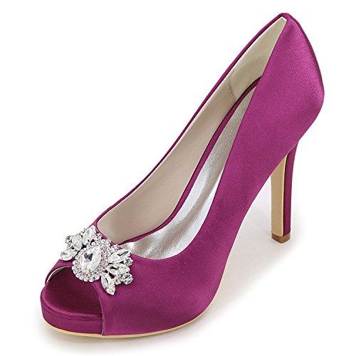 Pietre Toe Sposa Purple Strass 11cm Heel Kitten da Piattaforma Autunno Donna Scarpe Come Seta Peep Elobaby nq8xUBIpp