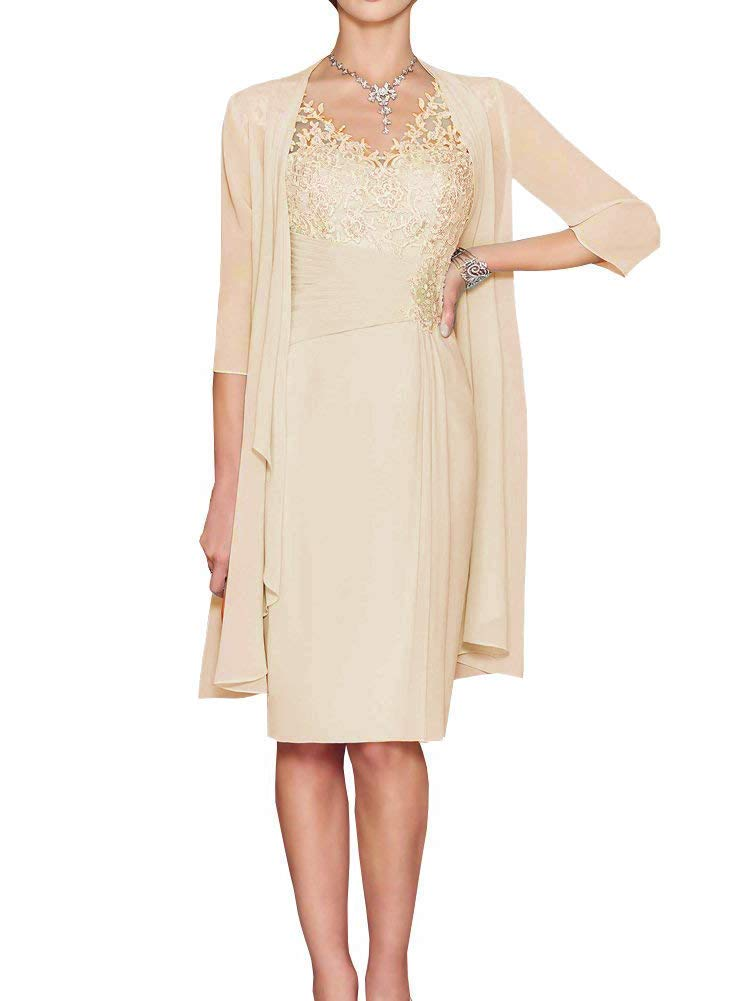 HIDRESS Women\u0027s Summer Elegant Knee Length Mother of The Bride Dresses with  Chiffon Jacket BQ140 Champagne Size 12
