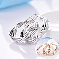preeyanan Brilliant White/Yellow Gold Filled Omega Back Round Hoop Earrings Party Jewelry (Yellow)